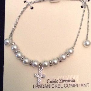 Jewelry - Beautiful Pearl cross bracelet NWT